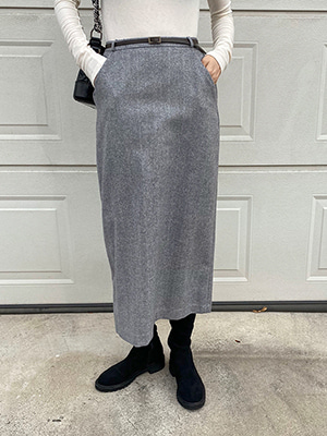 herringbone belt wool skirt (beige/gray)