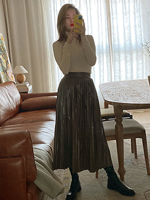 leather pleats skirt (brown/black)
