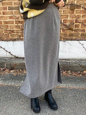 slit easy skirt (beige/gray/black)