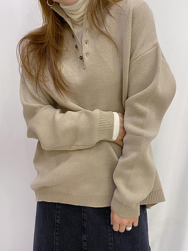 henly neck over knit (beige/green/skyblue/gray/black)