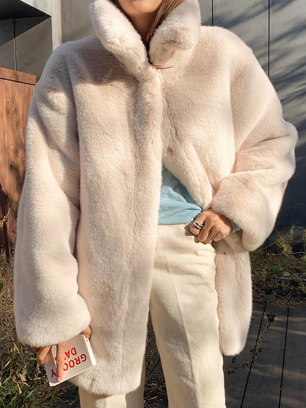 mink fur coat (ivory/deepbrown)
