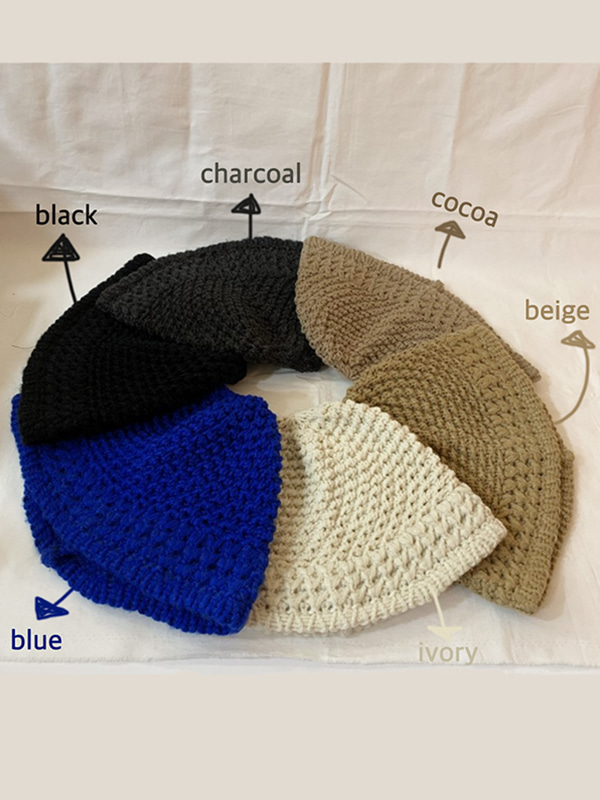 vintage mood knit hat (ivory/beige/cocoa/charcoal/black/blue)