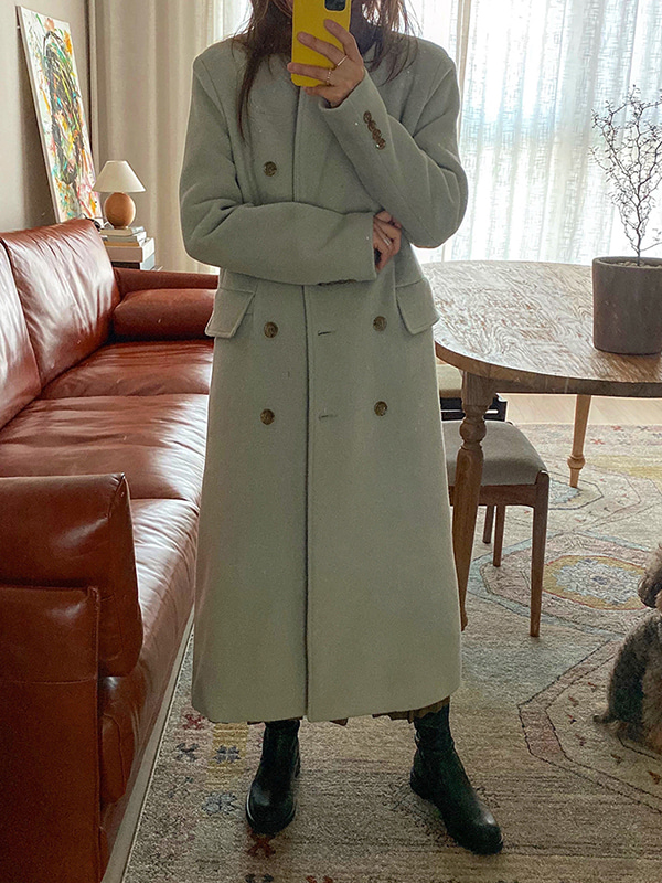hard cashmere double coat (mint/black)