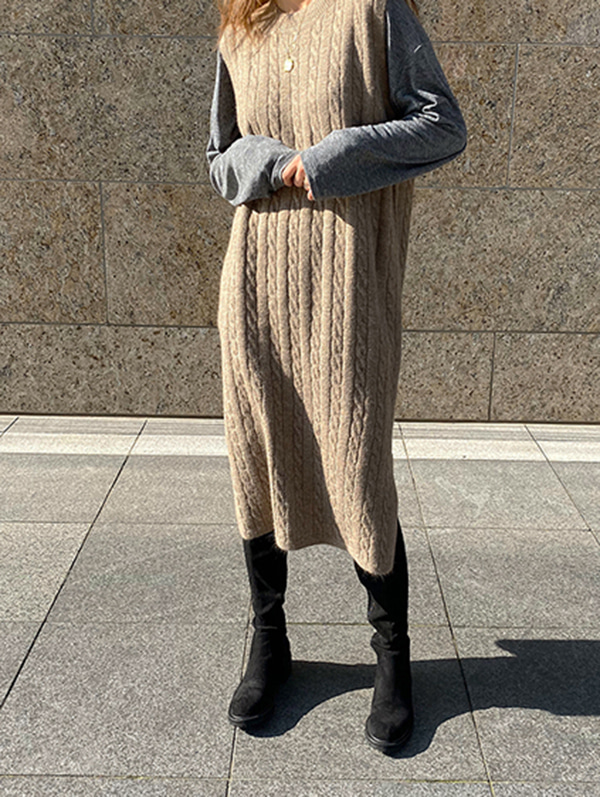 twist knit long vest (beige/deepbrown)