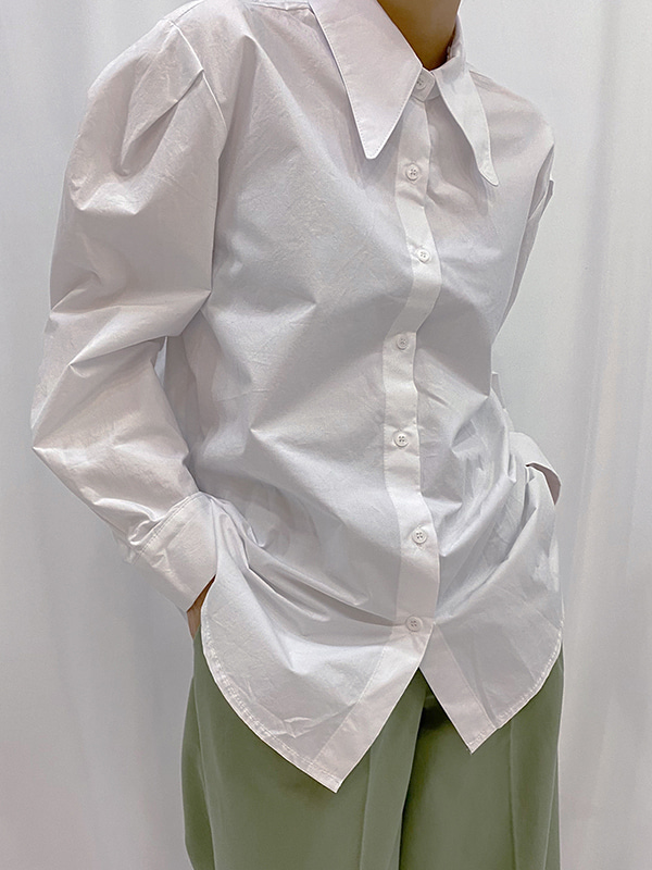 puff wide collar shirt (white/yellow/skyblue)